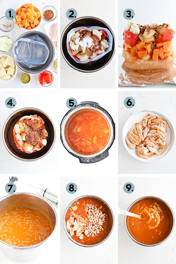 Step by step collage for how to make instant pot chicken enchilada soup