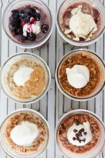 Top down shot of 6 mason jars with steel cut oats