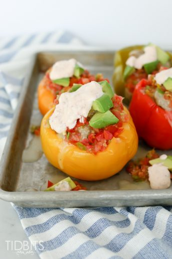 Pressure Cooker Mexican Stuffed Bell Peppers and Chipotle Lime Sauce