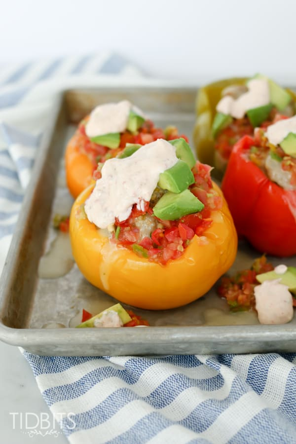 Pressure cooker stuffed peppers on a baking tray