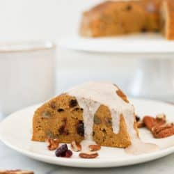 Pressure Cooker Pumpkin Cranberry Breakfast Cake with Maple Cinnamon Sauce
