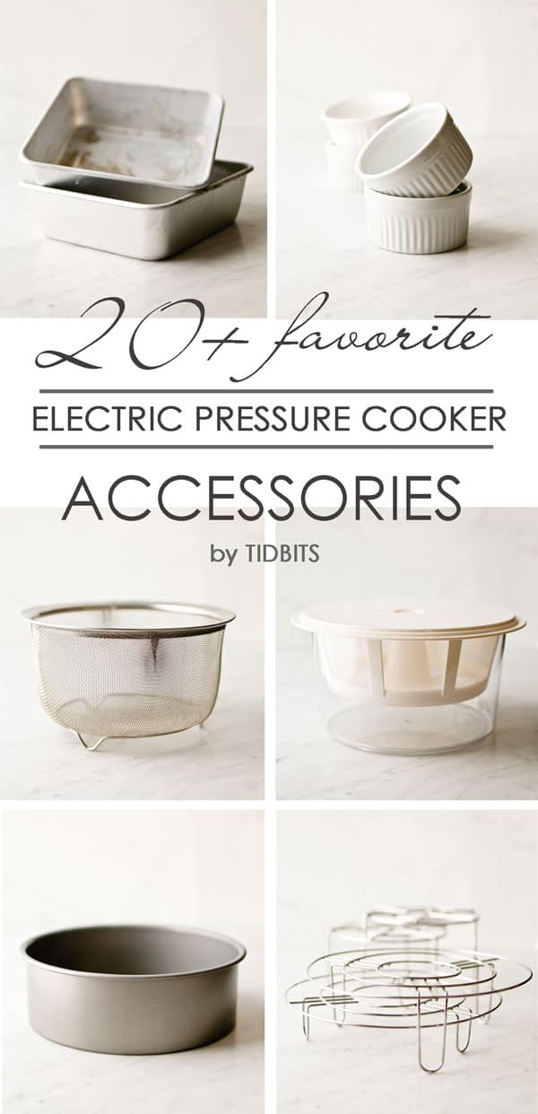 Collage of electric cooker accessories with text