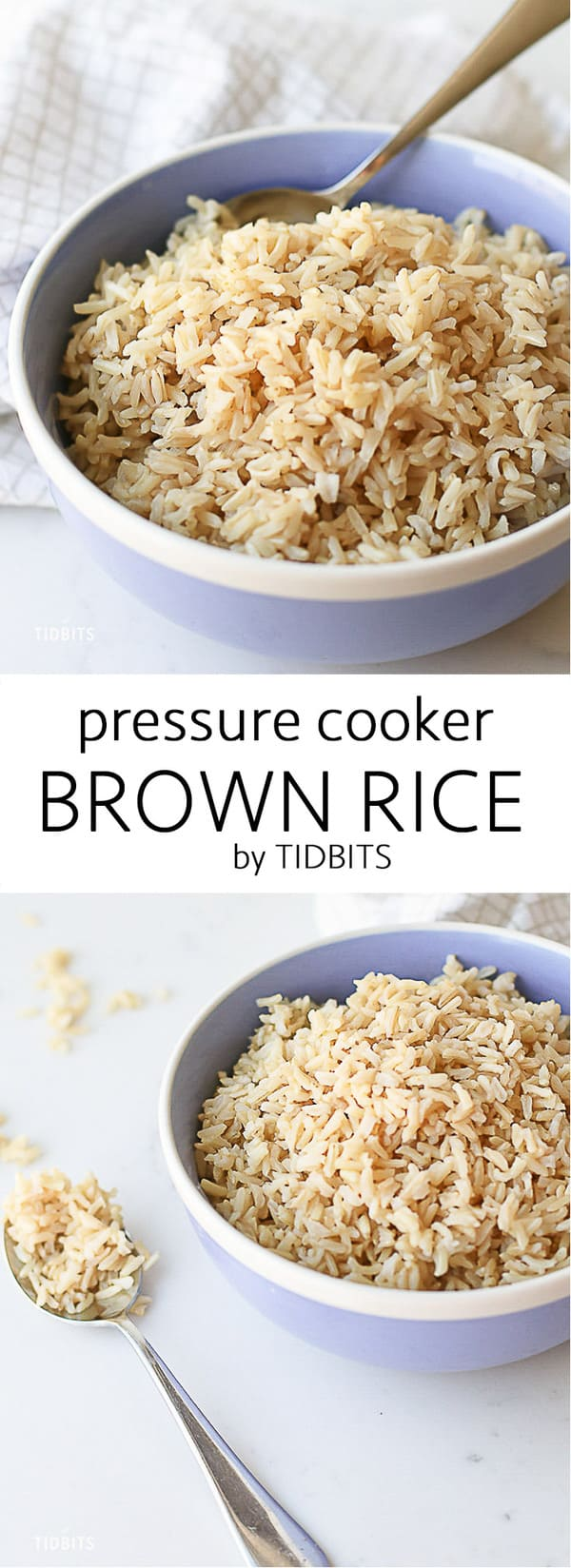 This perfectly cooked, pressure cooker brown rice is made in half the time of the traditional stovetop method and is completely hands off! Healthy, hearty whole grains just got soooo convenient! Instant pot rice | quick rice | easy rice recipe #instantpotrice #easyrecipe #pressurecookerrice