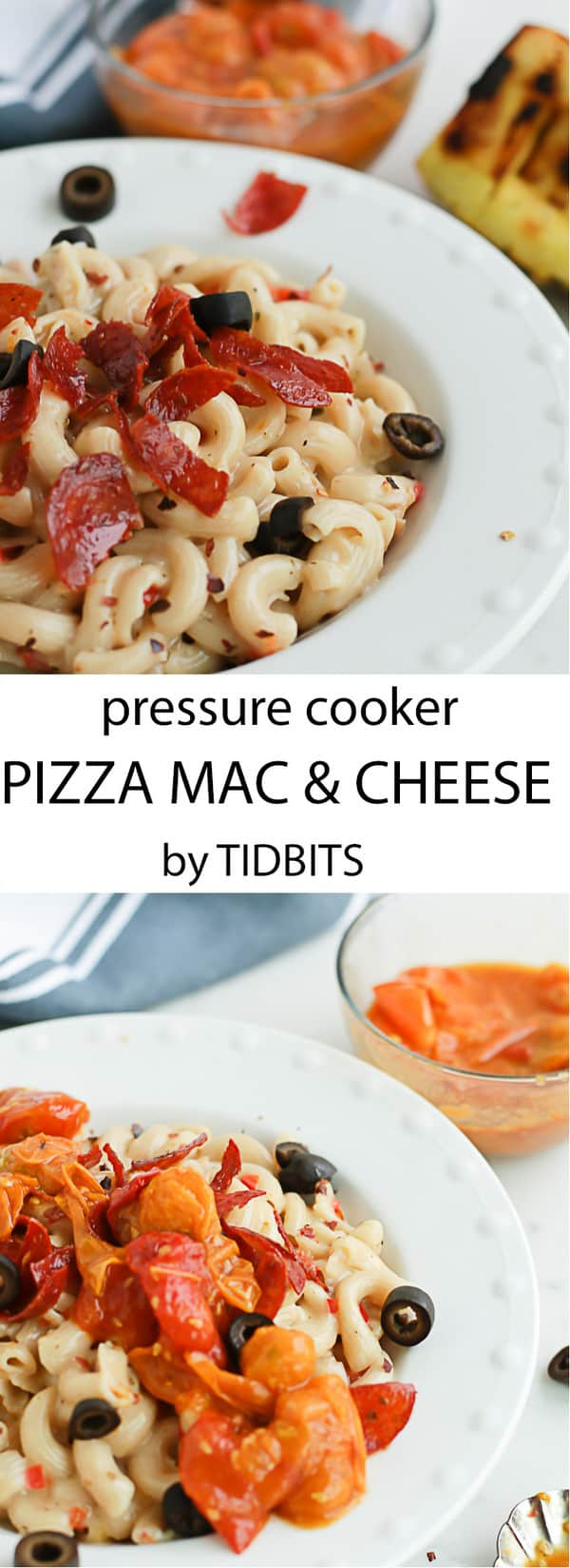Pressure Cooker Pizza Mac and Cheese. Healthy, Whole Grain, Creamy Mac and Cheese meets Pepperoni Pizza and we all get to fall in love! Instant pot pizza | Instant pot pasta | Healthy dinner #instantpotmacandcheese #instantpotpizza #pastadish
