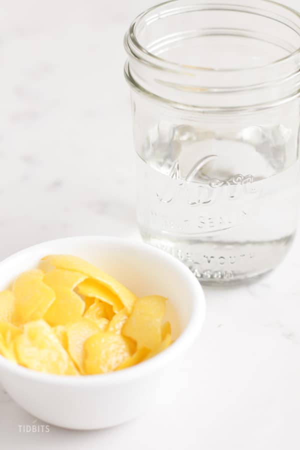 Lemon peel in a white bowl