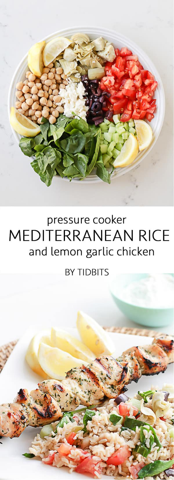Pressure cooker (aka Instant Pot) lemony brown rice, packed with fresh veggies, and topped with a HUGE dollop of cool and creamy tzatziki sauce. Serve Pressure Cooker Mediterranean Rice with a side of grilled lemon garlic chicken to make a complete rockstar meal. Instant pot meal | chicken dinner | weeknight dinner #instantpotrice #pressurecookerdinner #chickendinner