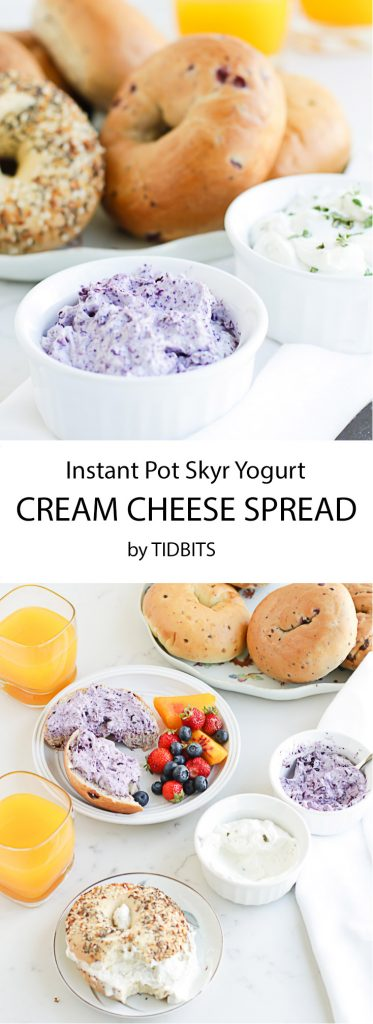 Pressure Cooker Skyr Cream Cheese spread - thick, smooth and perfect for bagels, veggies, and more.