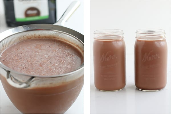Basic Crio Bru in a sieve and in glass jars