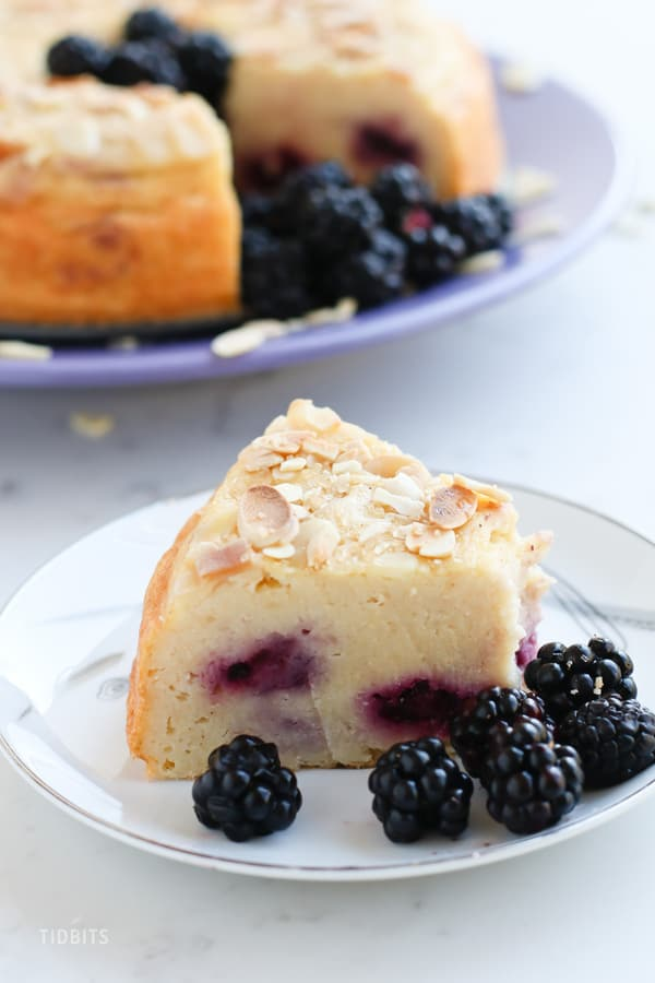 Pressure Cooker Blackberry Breakfast Cake is whole grain and full of protein for a perfect start to your day