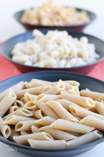 Three bowls of pressure cooker pasta in a row