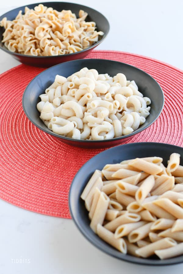 Bowls of instant pot pasta on a work surface
