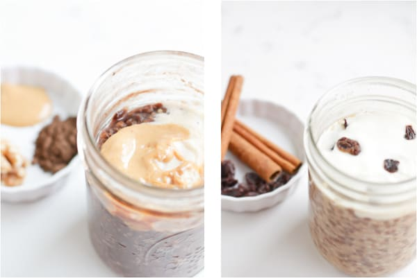 Side by side photos of flavored overnight oats