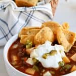 Pressure Cooker Triple Bean Chili is a healthy, flavorful, and perfect for a cold night
