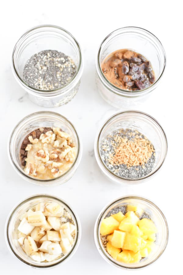 Top down shots of different flavours in mason jars