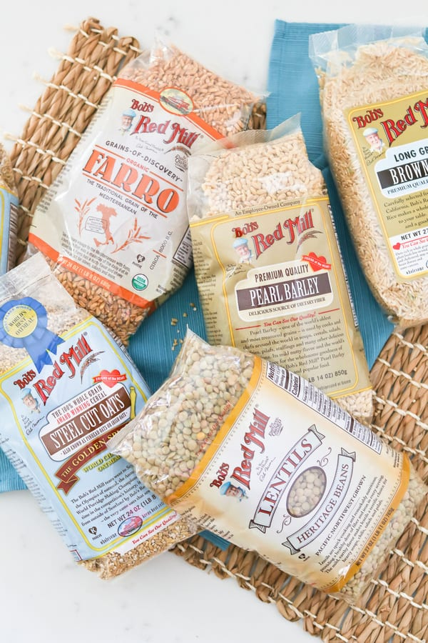 Top down shot of packs of Bob's Red Mill oats