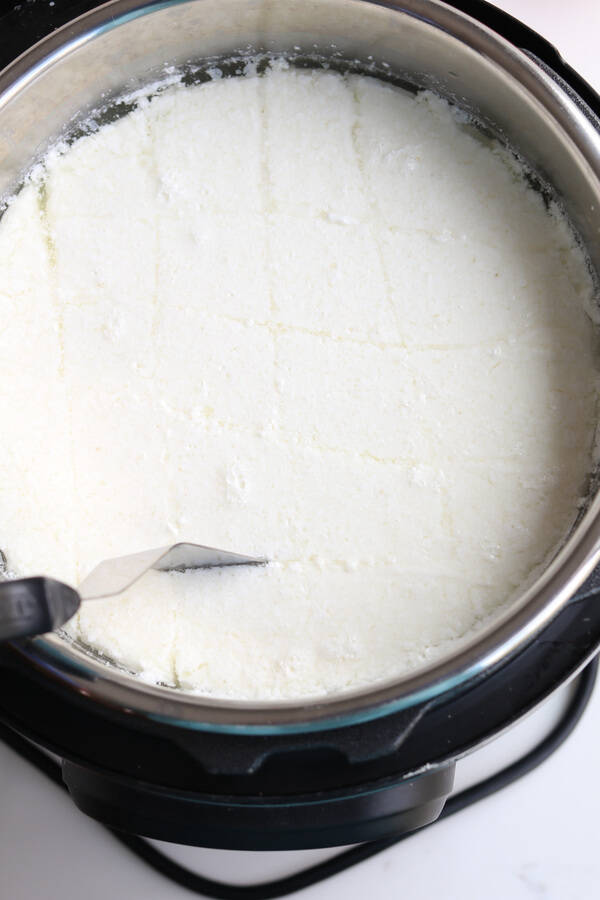 Top down shot of mozzarella in the pressure cooker