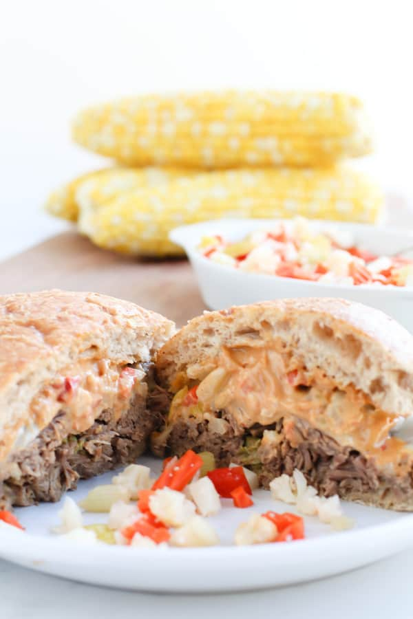 Tasty, Juicy, flavorful Pressure Cooker AKA Instant Pot, Pepperoncini Beef sandwiches with pickled veggies and an incredible Creamy chipotle mayo