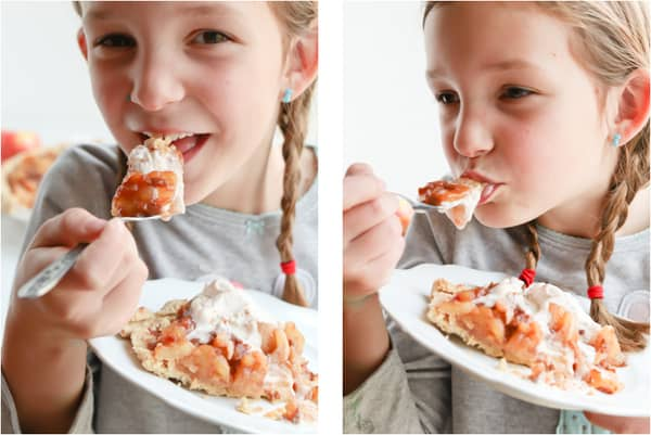 Girl eating apple caramel pie