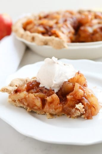 Pressure Cooker Sugar Free Caramel Apple Pie on a white plate