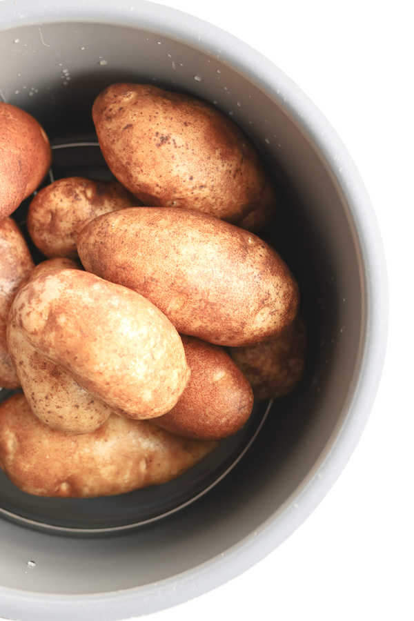 Top down shot of potatoes in an Instant Pot