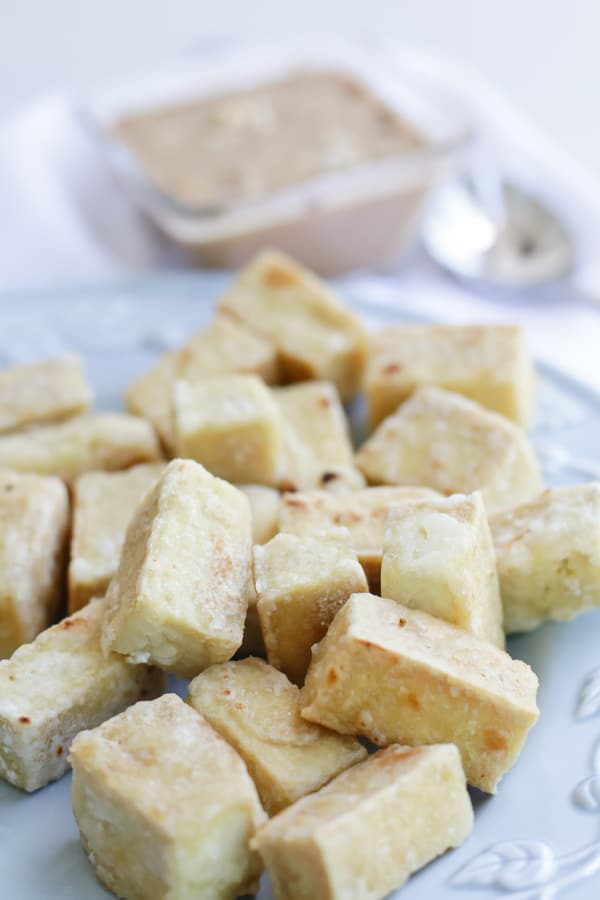 Close up of Pressure Cooker Tofu on a white plate