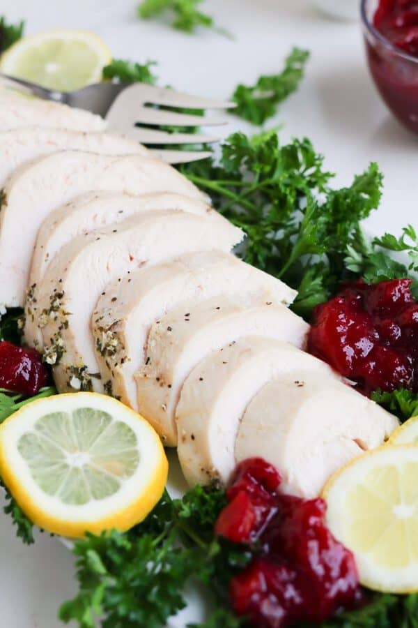 Pressure Cooker Turkey Breast lemon garlic herb butter is the most tender turkey ever!