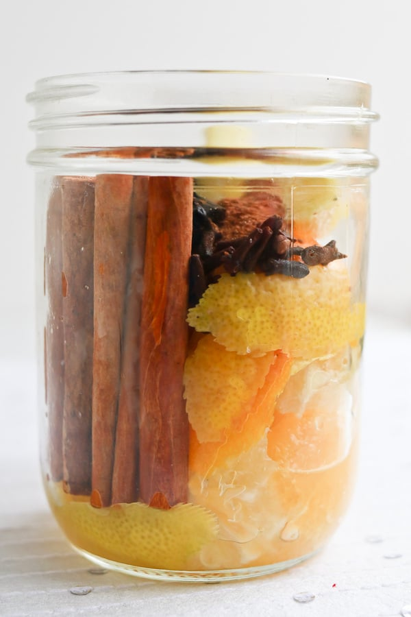 Pressure Cooker Wassail in a jar on a white background