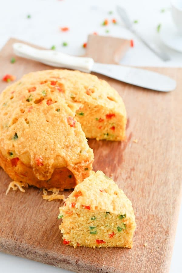 Pressure Cooker Jalapano Cheddar Cornbread is crispy, moist, and speckled with red and green
