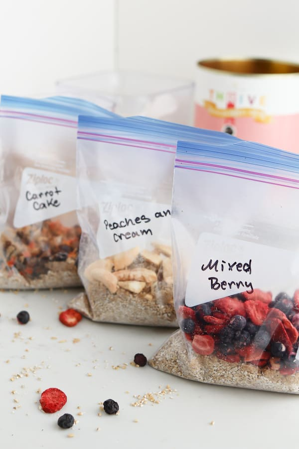 Three ziplock bags with ingredients in