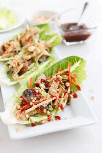 Pressure Cooker Easy Moo Shu Pork on lettuce leaf wraps