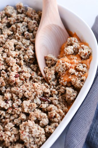 Pressure Cooker Sweet Potato Casserole in a serving dish