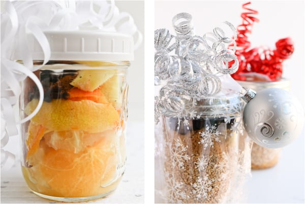 Wassial and steel cut oats in jars with ribbons