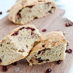 Instant Pot Whole Wheat Cranberry Pecan No Knead Crusty Bread