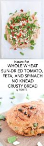 Instant Pot Sun-Dried Tomato, Feta, and Spinach No Knead Crusty Bread is warm, chewy, crusty perfection