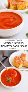 Pressure Cooker Veggie Lovers Tomato Basil Soup is easy throw together and the most flavorful tomato soup ever thanks to a few secret ingredients