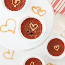Pressure Cooker Red Velvet Creme Brulee and White Chocolate Garnish