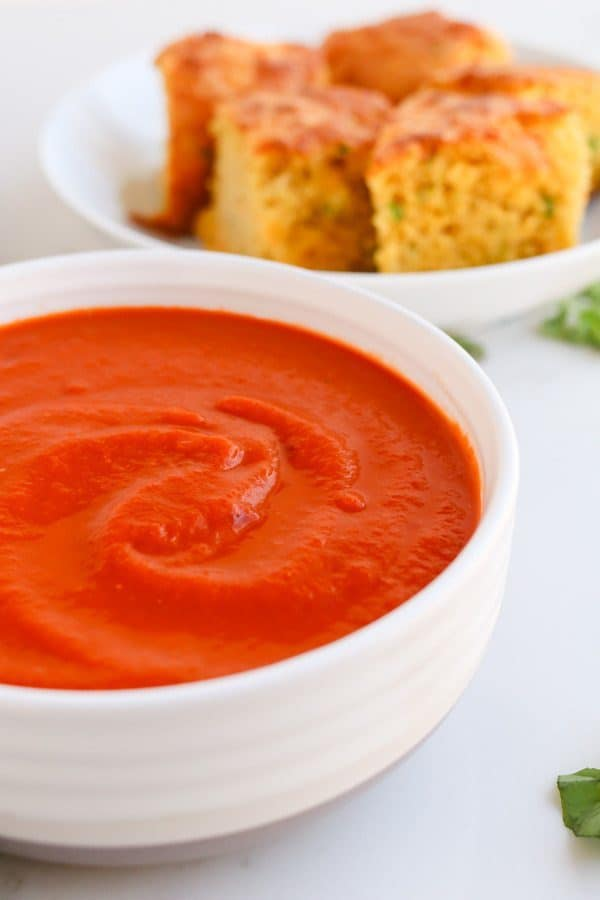 Close up of a bowl of tomato soup