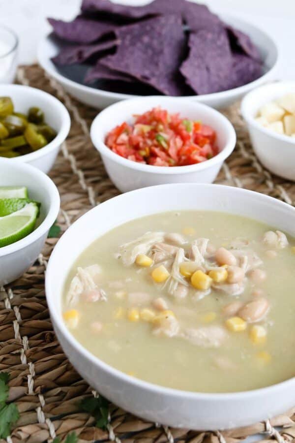 Pressure Cooker White Chicken Chili is healthy, creamy (without cream), delicious, and easy to throw together