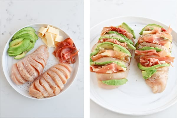 Step by step photos of how to prepare hasselback chicken