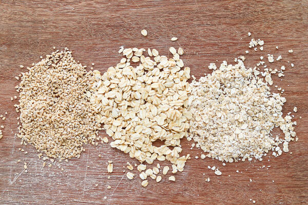 Oats on a wooden work surface