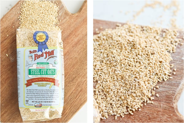 Two photos of steel cut oats, in package and on works surface