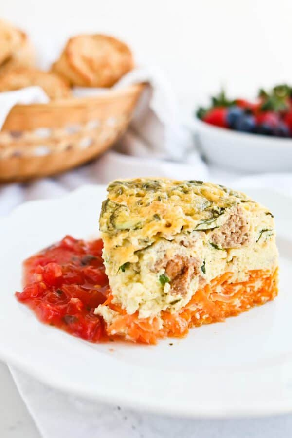 Pressure Cooker Sweet Potato, Spinach, and Sausage Breakfast Casserole is full of protein and veggies. Perfect for any time of day