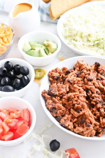 Pressure Cooker Instant Pot Healthy Meat and Bean Taco Filling with toppings