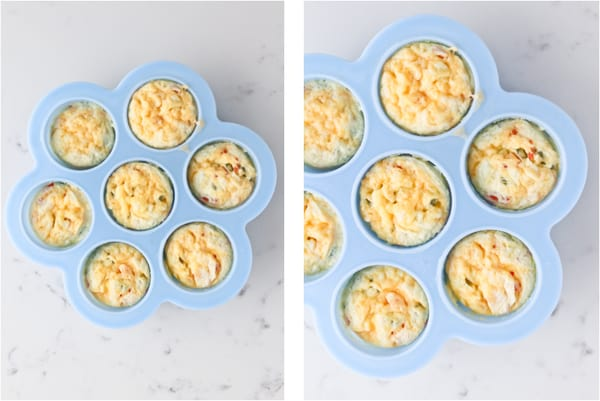 Cooked sous vide eggs in silicone molds