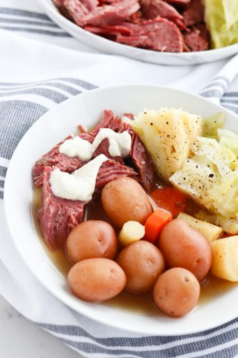 Pressure Cooker Corned Beef and Cabbage with Horseradish Cream Sauce