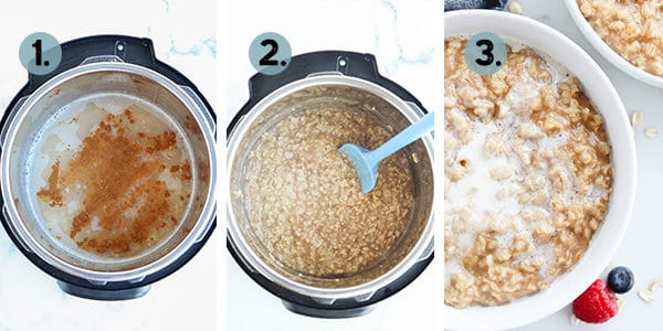 Step by step collage of how to make oatmeal in an instant pot