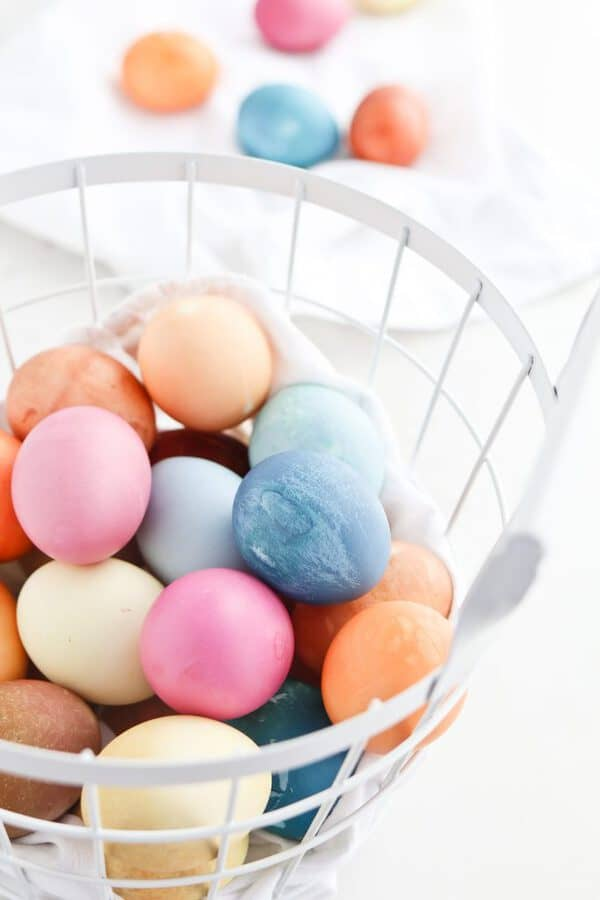 Basket of naturally dyed hardboiled eggs made in Instant Pot Pressure Cooker