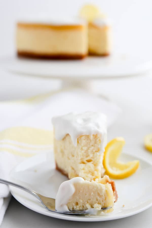 Instant Pot Pressure Cooker Lemon Cheesecake on a plate