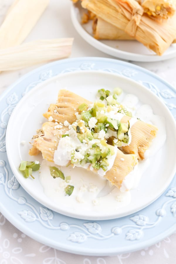 two instant pot tamales on a plate