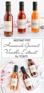 Homemade Instant Pot Gourmet Vanilla Extract in bottles with label